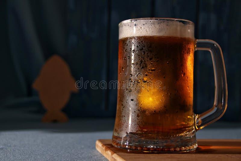 Caneca de cerveja clara fria fotografia de stock