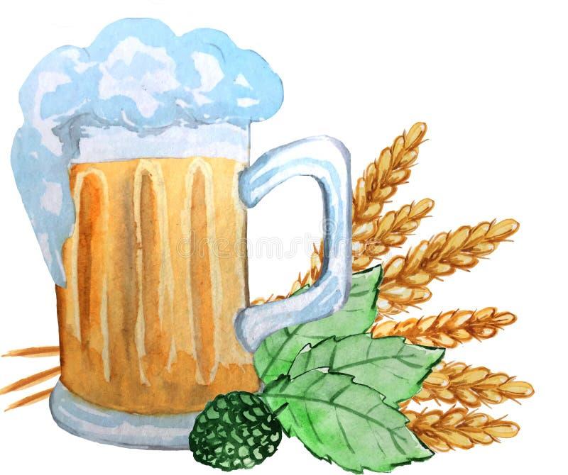 A caneca de cerveja com as orelhas do trigo, lúpulo sae em um fundo branco ilustração da aquarela para cartazes, cópias, cartões ilustração stock