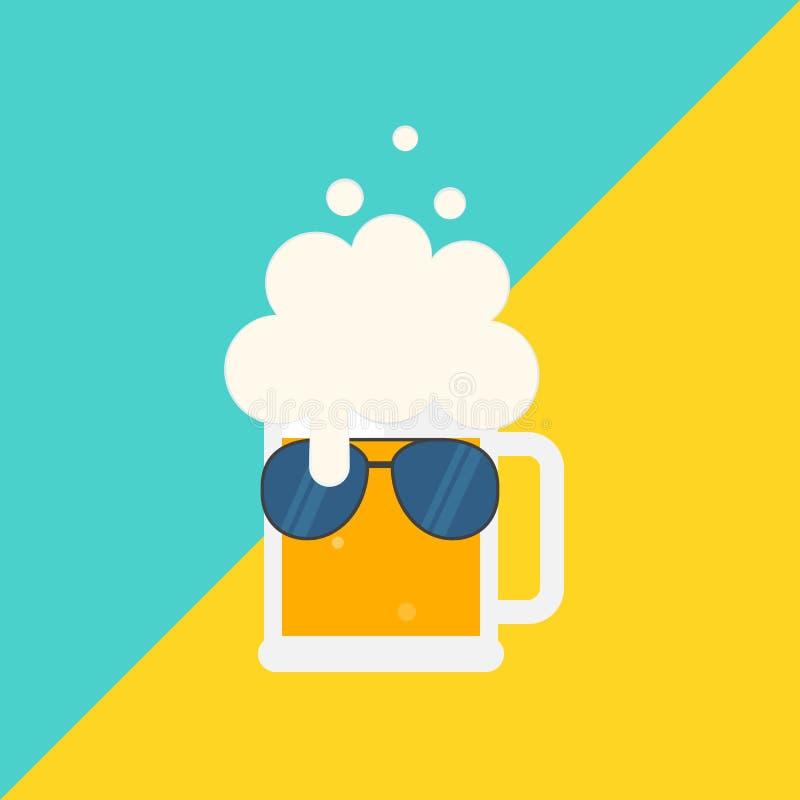 Caneca de cerveja com espuma e óculos de sol ilustração royalty free