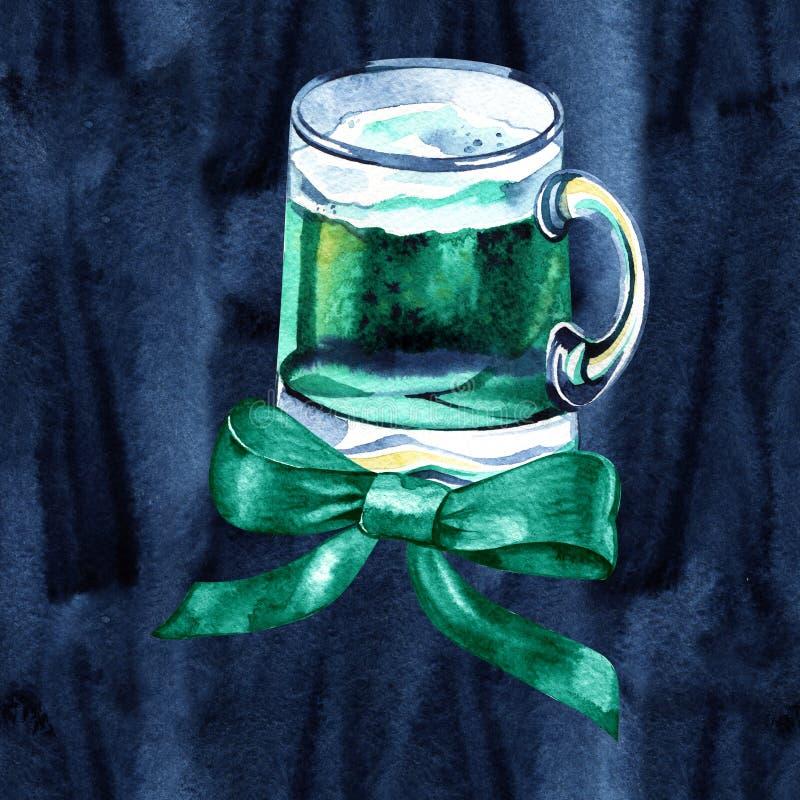 Caneca de cerveja com cerveja verde para o dia de St Patrick Aquarela com espirro, gotas para o feriado irlandês ilustração stock