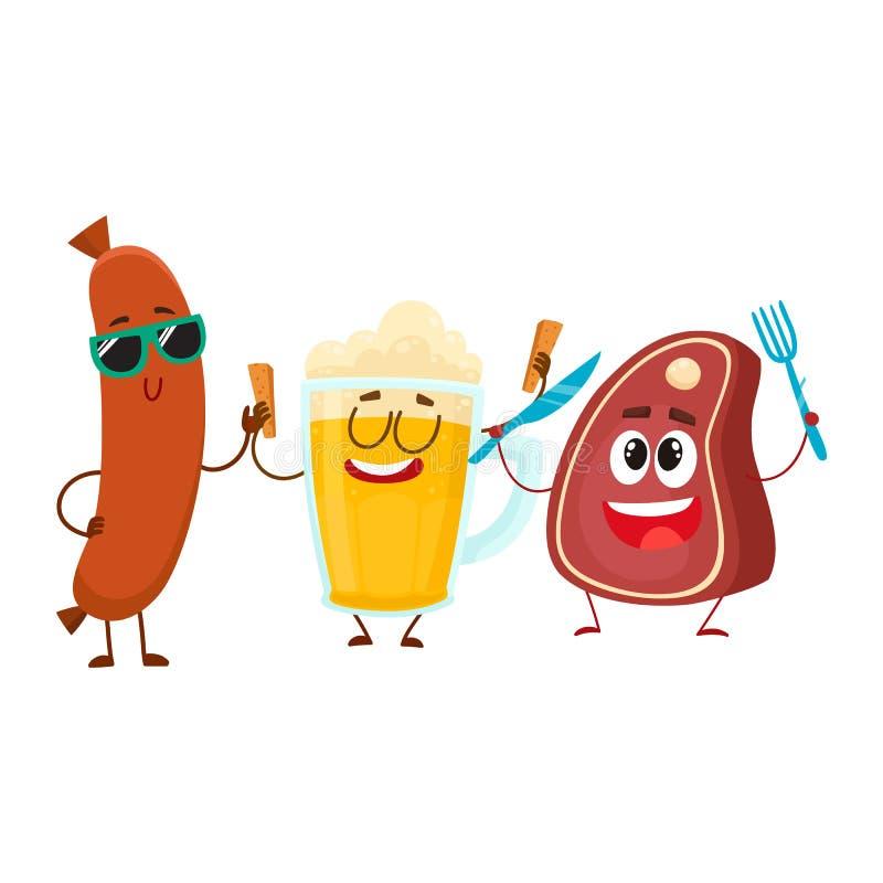 Caneca de cerveja feliz, bife da carne, caráteres da salsicha de salsicha tipo frankfurter que têm o partido ilustração do vetor