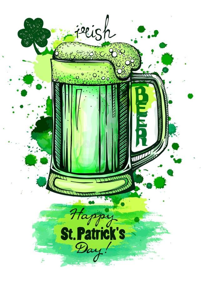 Caneca de cerveja verde, artes gráficas imagens de stock