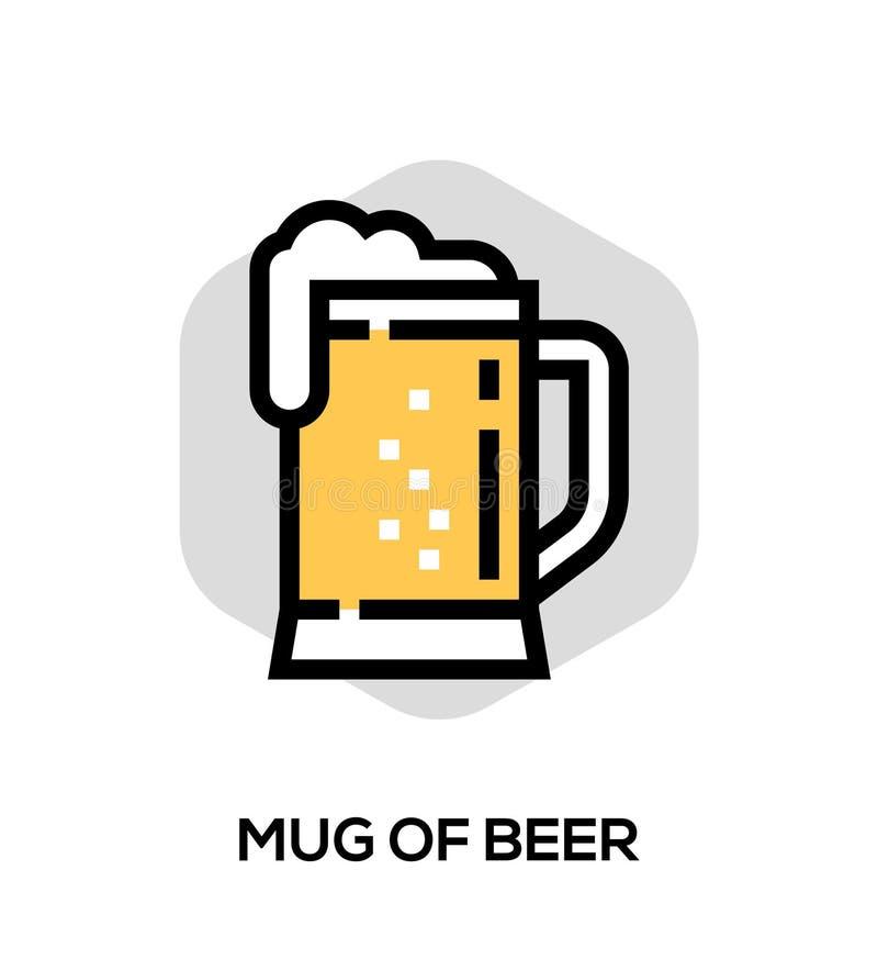 Caneca de linha lisa ícone do vetor da cerveja Conceito do vetor para gráficos da Web ilustração stock