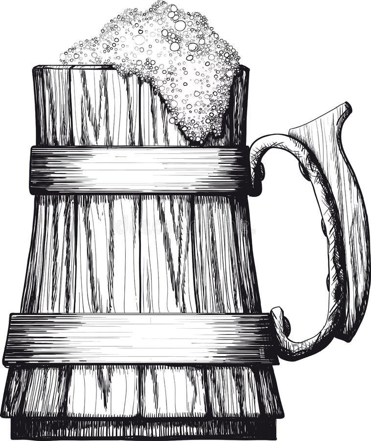 Caneca de madeira de cerveja ilustração do vetor