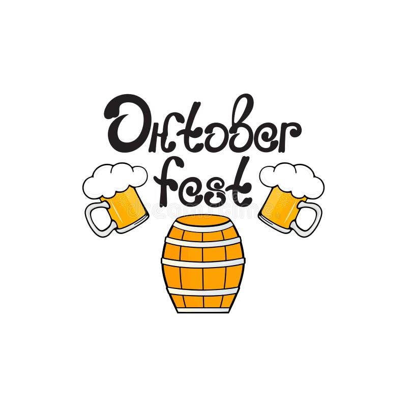 Caneca de Oktoberfest A de cerveja com espuma e um tambor ilustração do vetor