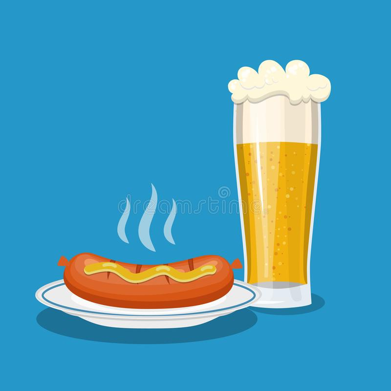Caneca de vidro de cerveja e de placa com salsicha ilustração stock