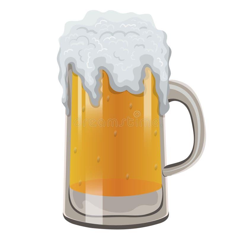 Caneca de vidro de cerveja espumosa Ilustra??o do vetor isolada no fundo branco ilustração do vetor