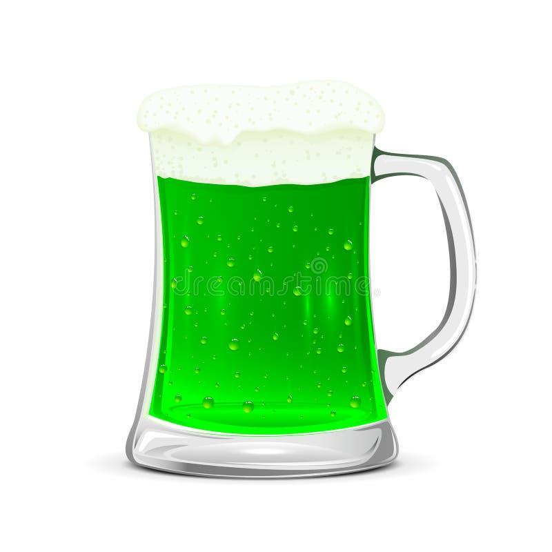 Caneca de vidro de cerveja verde ilustração do vetor