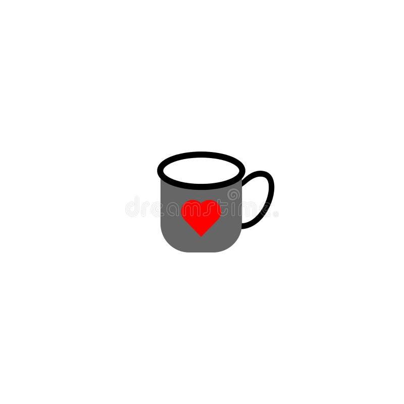 Caneca do copo com coração Elemento do projeto de cartão Ilustração isolada do vetor ilustração do vetor