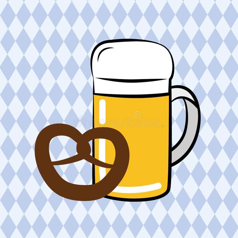 A caneca e o pretzel de cerveja com bavaria embandeiram o fundo ilustração stock