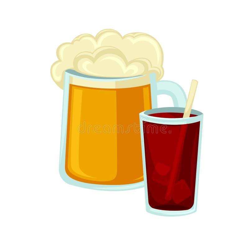 Caneca grande de cerveja com palha da cola da espuma e do vidro ilustração stock