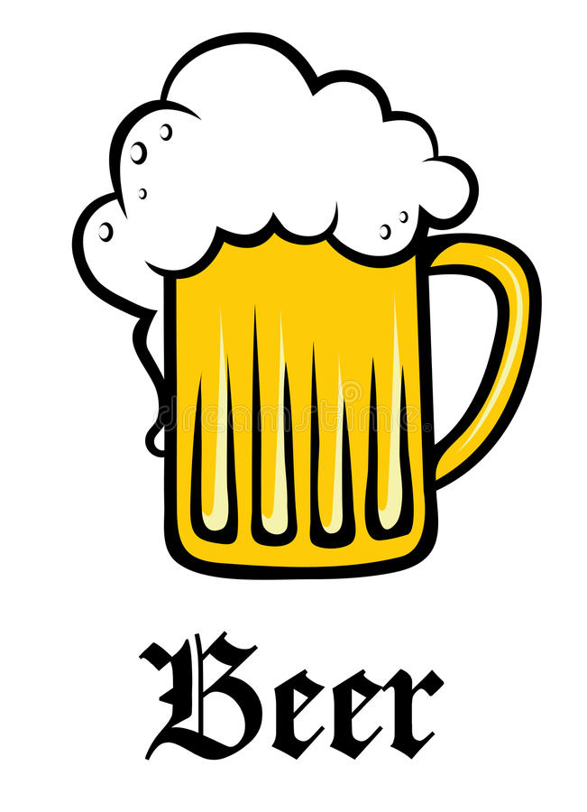Caneca para cerveja de vidro da pinta da cerveja espumoso dourada ilustração do vetor