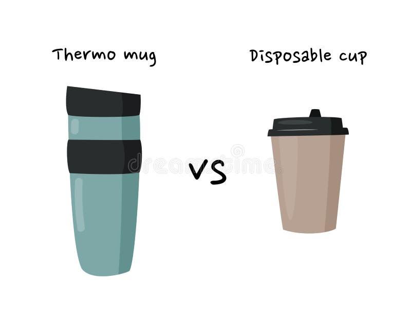 Caneca Thermo contra o copo descartável para bebidas quentes Conceito waste zero Poster ecol?gico ilustração do vetor