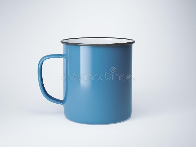 Caneca vazia azul do esmalte rendição 3d imagens de stock royalty free