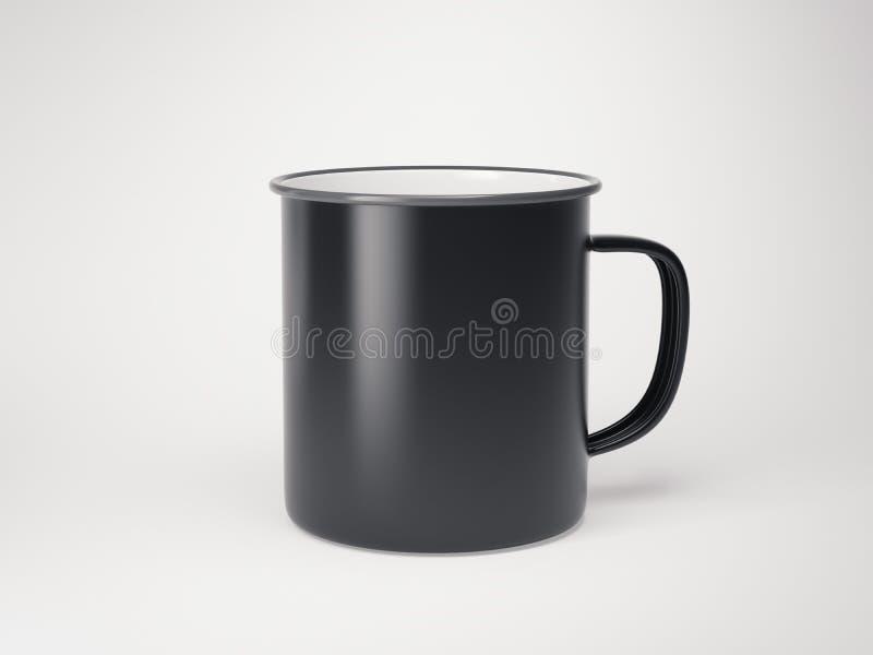 Caneca vazia preta do esmalte no assoalho brilhante rendição 3d ilustração stock