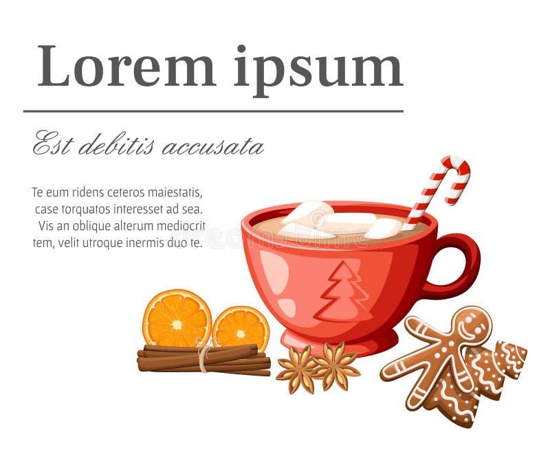 Caneca vermelha de cacau ou de café quente com vara dos doces e ilustração dos marshmallows isolada no fundo branco ilustração do vetor