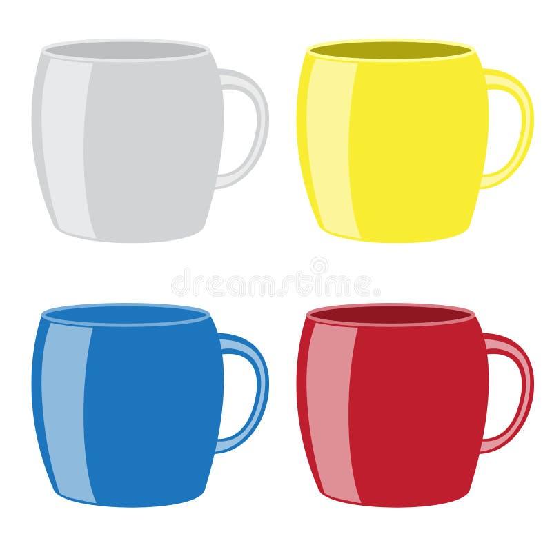 Canecas coloridas da bebida ilustração do vetor