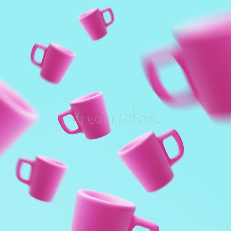Canecas cor-de-rosa cerâmicas que flutuam no ar, 3d rendição, copo de café fotos de stock royalty free