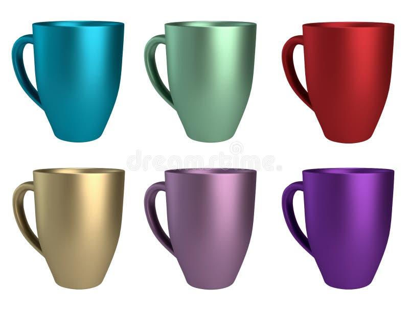 Canecas 3D coloridas diferentes ilustração stock