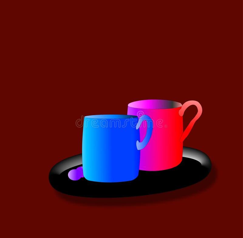 Canecas de café ilustração stock