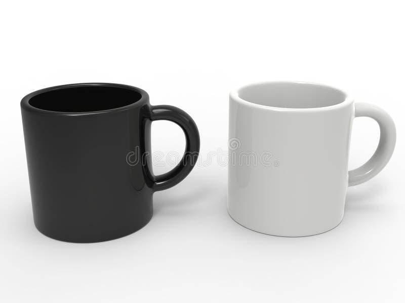 Canecas de café preto e branco de lado a lado ilustração stock