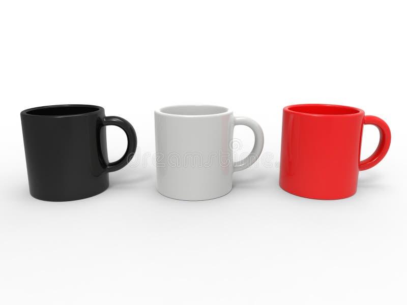 Canecas de café vermelhas, preto e branco ilustração stock