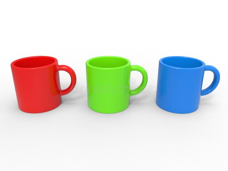 Canecas de café vermelhas, verdes e azuis ilustração stock