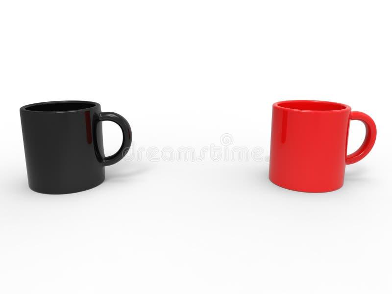 Canecas de caf? vermelho e preto ilustração stock