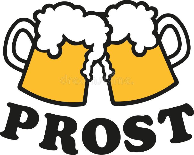 Canecas de cerveja com elogios alemães ilustração stock