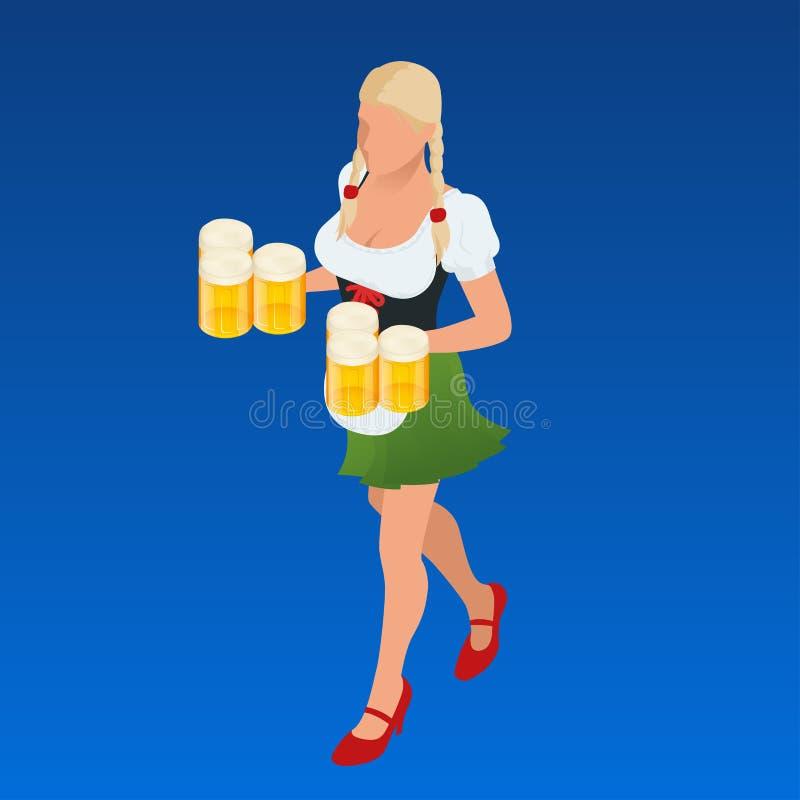 Canecas de cerveja da sagacidade de Bavaria da empregada de mesa decoradas Povos isométricos do vetor ilustração do vetor