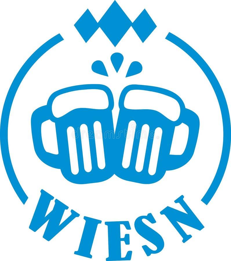 Canecas de cerveja de Wiesn ilustração do vetor