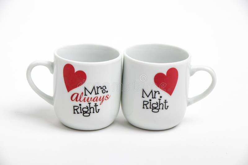 Canecas do Sr. e da Sra. Right fotografia de stock royalty free