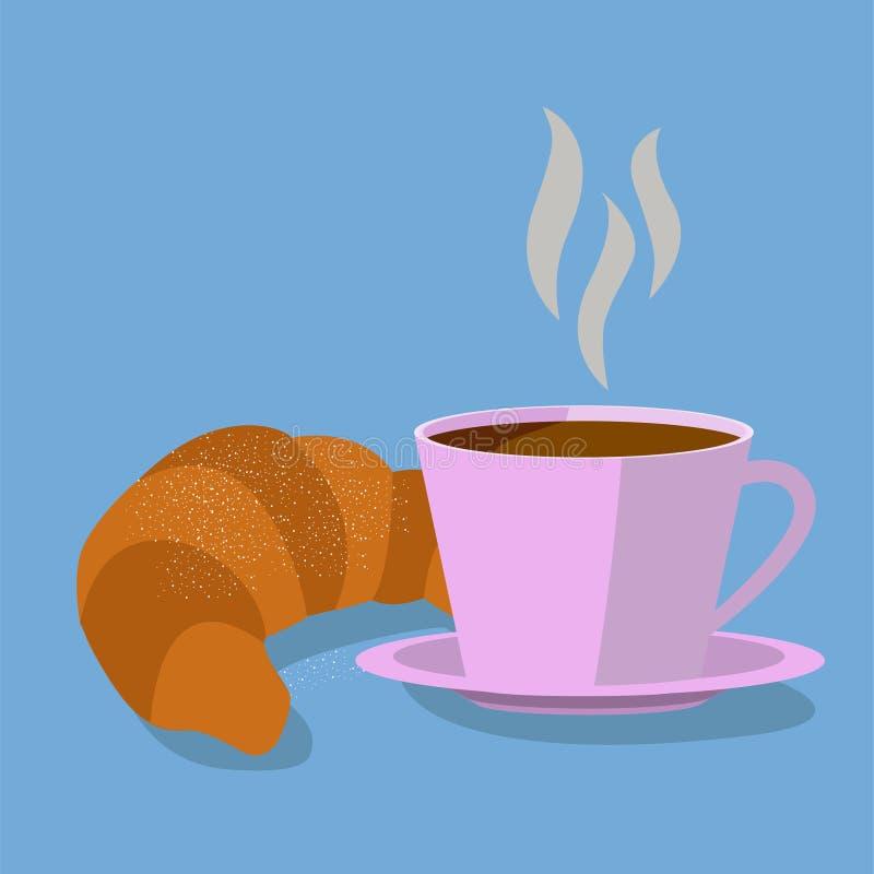 Canecas e croissant de café ilustração do vetor