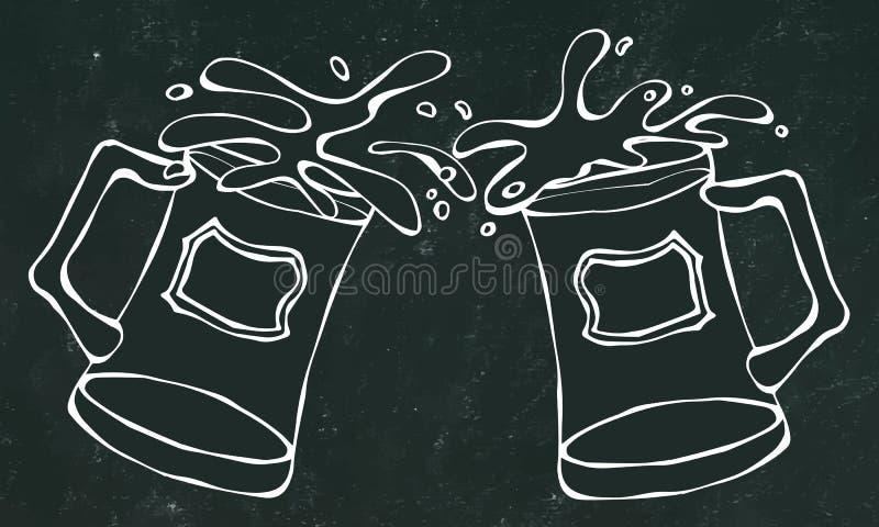 Canecas ou vidros de cerveja clara e escura Fundo e giz pretos da placa Ilustração desenhada mão do vetor Doodle o estilo ilustração do vetor