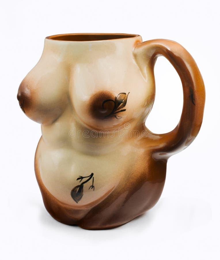 Caneco de cerveja como o corpo de uma mulher despida imagens de stock
