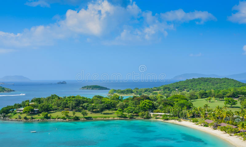 Caneel Bay on St. John US Virgin Islands. Scenic view of Caneel Bay on St. John, United State Virgin Islands. This 170-acre peninsula within the Virgin Islands stock photo