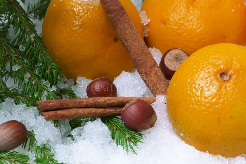 Canela de la avellana de la nieve de las mandarinas imagenes de archivo