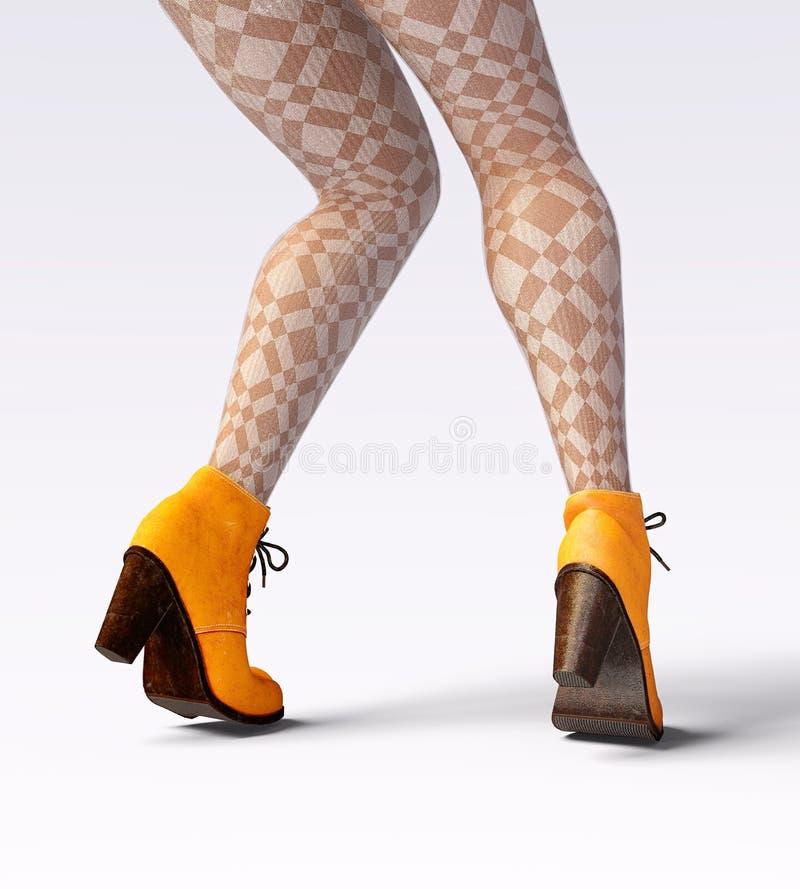 Caneleiras de lã e metade-grânulos dos pés fêmeas bonitos ilustração stock