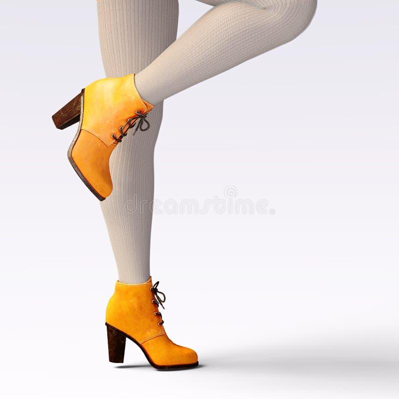 Caneleiras de lã e metade-grânulos dos pés fêmeas bonitos ilustração do vetor