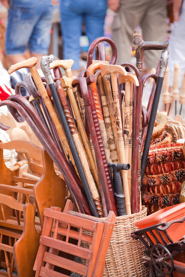 Canes. Handmade canes for sale at a souvenir shop in Romania stock photo