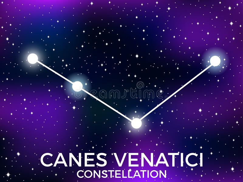 Canes Venatici constellation. Starry night sky. Cluster of stars and galaxies. Deep space. Vector. Illustration stock illustration