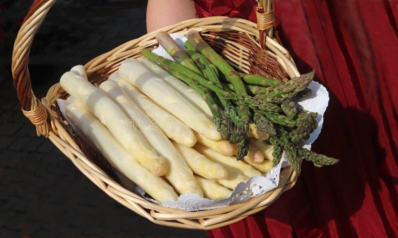 Canestro con asparago bianco e verde, presentato da una giovane donna fotografia stock