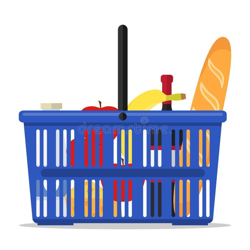 Canestro con i prodotti Un'icona del carrello del supermercato con un insieme dei prodotti illustrazione di stock