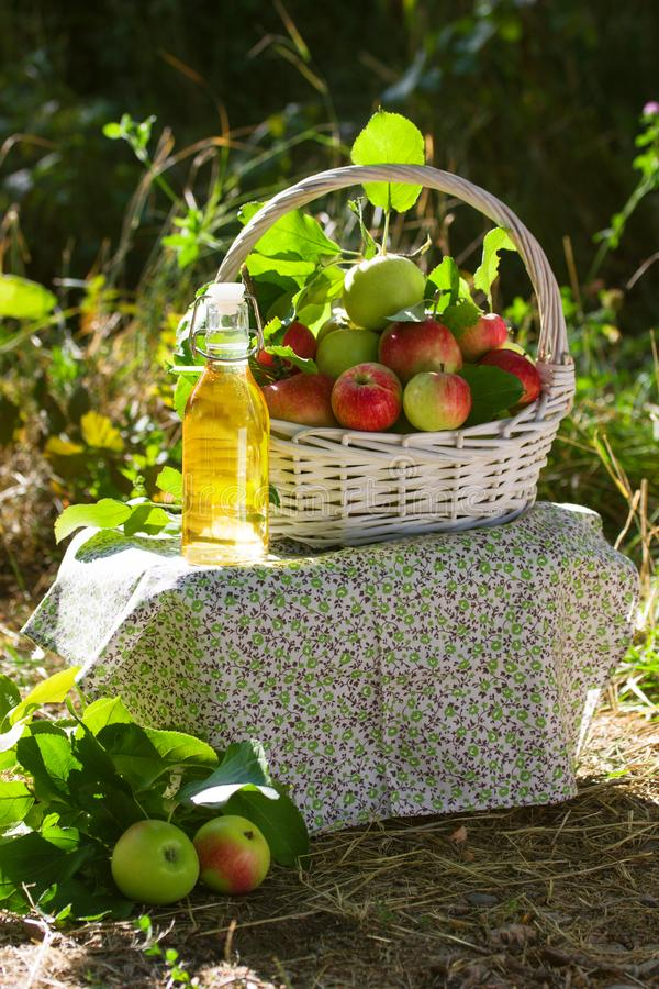 Canestro con il succo o l'aceto del sidro di mele in bottiglia di vetro immagini stock libere da diritti