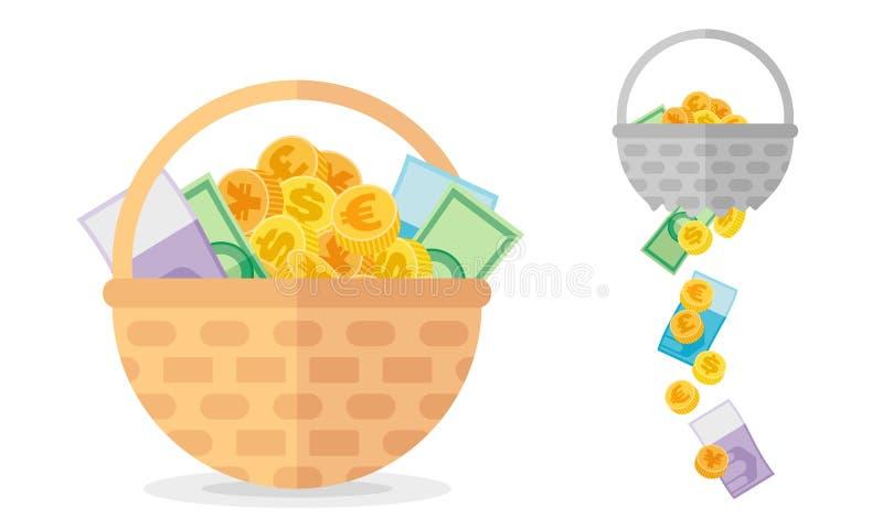 Canestro con le monete e banconote e quella rotta Concetto di investimento circa necessario del vettore di diversificazione illustrazione di stock
