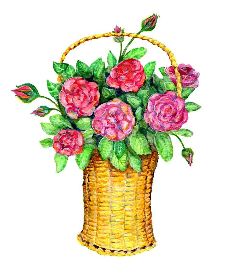 Canestro con le rose rosse illustrazione di stock