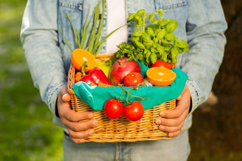 Canestro con le verdure e frutti nelle mani di un fondo dell'agricoltore della natura Concetto dello stile di vita sano fotografie stock