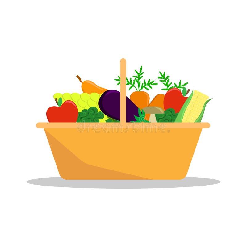 Canestro con una frutta stagionale e le verdure dell'agricoltore del raccolto illustrazione vettoriale