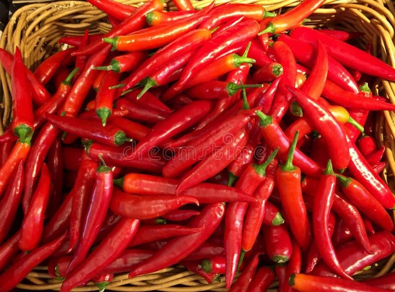 Canestro dei peperoncini rossi fotografie stock libere da diritti