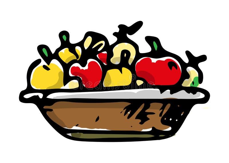 Canestro dell'icona variopinta delle mele Schizzo nero disegnato a mano simbolo del segno Elemento della decorazione Priorità bas royalty illustrazione gratis